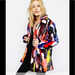 Story of Lola rainbow faux fur coat